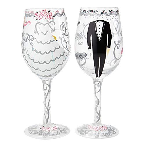 Desea la pareja una idea muy 'Happy Ever After' con este regalo de bodas. Parte de nuestra colección Lolita boda, este set de regalo incluye dos copas de vino pintado a mano individuales para la novia y el novio haciendo de este un regalo que sin dud...