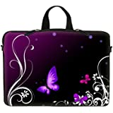 15 15.6 inch Laptop Sleeve with Hidden Handle & Eyelets (D Ring Hook) Bag Carrying Case for Macbook, Acer, Asus, Dell, Hp, Sony, Toshiba, and more - Purple Butterfly Design