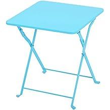 Ali Nórdico simple hierro plegable pequeña mesa de café Mesa de salón de café tabla cuadrada plegable de la tabla ( Color : Azul )