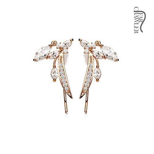 Tapsi´s Coolbodyart®| Ohr Klemme Manschette Rhodium Zirkonia, Feder Rose Gold