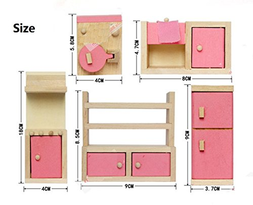 Kotiger in legno casa delle bambole mobili da cucina giocattolo set per fai da te giocattoli educativi