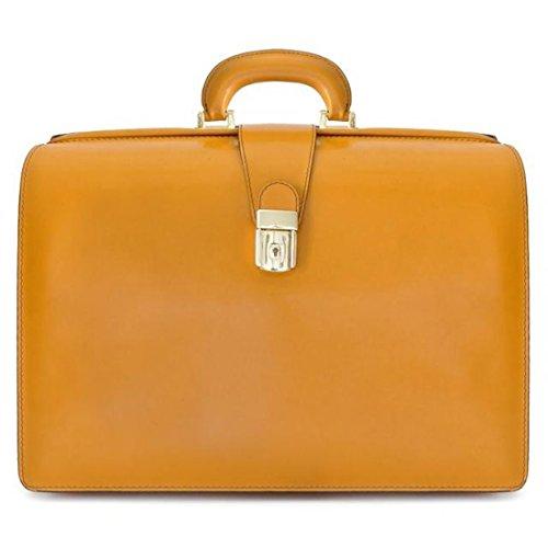Pratesi Leonardo Briefcase Leder Laptoptasche - R525/G Radica (Senf) (Senf Aktentasche)
