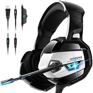 ONIKUMA PS4 Headset, Gaming Headset mit Mic PC Headset Gaming Kopfhörer für PC Xbox One Headset Nicht Enthalten Adapter…