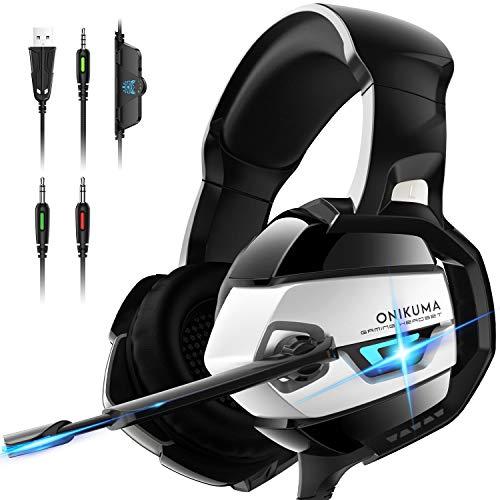 ONIKUMA Gaming Kopfhörer, Gaming Headset mit 7.1 Surround Sound Xbox One Kopfhörer mit Geräuschunterdrückung & Mic Weicher Gehörschutz Gaming Headset für PS4, Xbox One, PC, Mac, Laptop