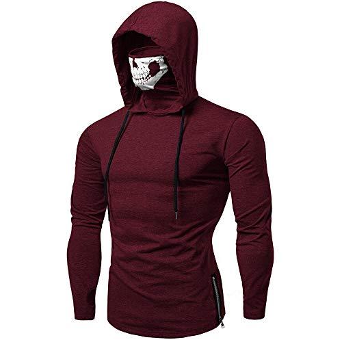 UJUNAOR Männer Schädel Masked Kapuzenpullover Solide Kapuzen Langarm Sweatshirt(Wein,CN ()