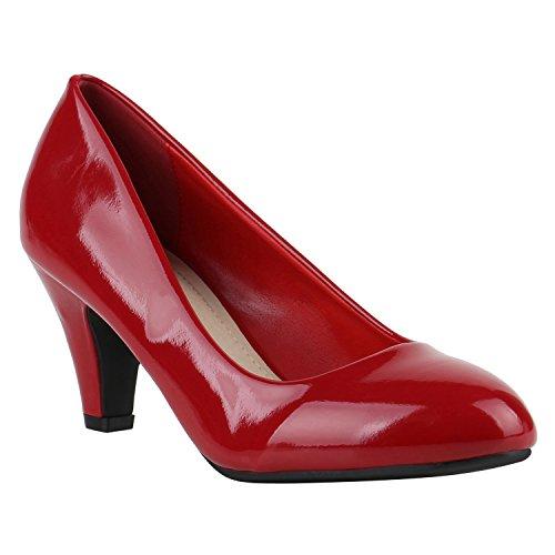 Stiefelparadies Klassische Damen Pumps Strass Glitzer Party Metallic Stilettos Absatz Abend Lack Schuhe 142280 Dunkelrot Lack 41 Flandell