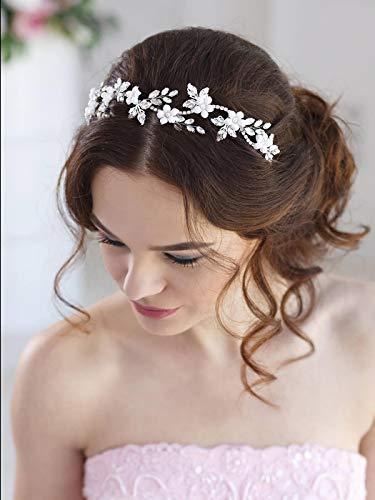 Simsly Blumenhaarschmuck, Hochzeits-Haarschmuck, silberfarben, Haaraccessoire, mit Kristallen, Brautschmuck, für Damen und Mädchen