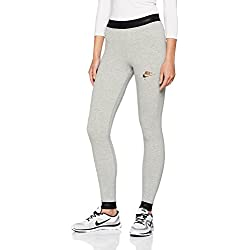 Nike Air Mallas de Entrenamiento, Mujer, Gris (Dk Grey Heather/Black 063), 36 (Talla del Fabricante: Small)