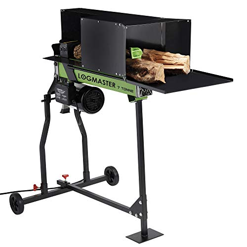 Logmaster 7 Tonne Electric Log Splitter with Stand, 2200W Splits Green & Hard Wood, with Safety Guard & Wheels
