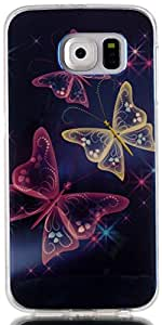 S6 Case, Galaxy S6 Case AIYZE Blue Light Soft TPU Gel Protective Back Case with Silicone Mobile Phone Stand for Samsung Galaxy S6 G9200 SM-G920 (Dream Three Butterflies)