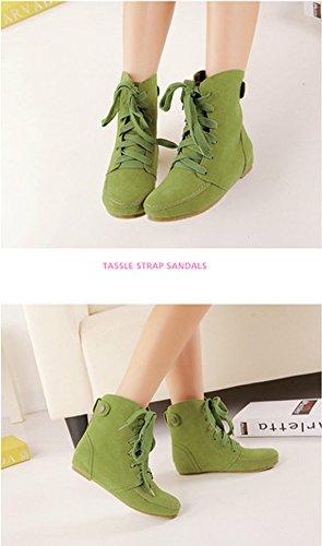 Minetom Inverno Moda Lace Up Boots Donne Scarpe Piatte Stivaletti Scarpe Fibbia Della Piattaforma Confortevole Martin Boots Verde Cotone
