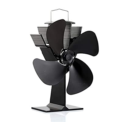 Newest CRSURE Stove Fan SF-444, Wood Burner Stove Top Fans for Log Burner, 4-Blade Heat Powered Fireplace Fan for Wood Burning Stove (Black)