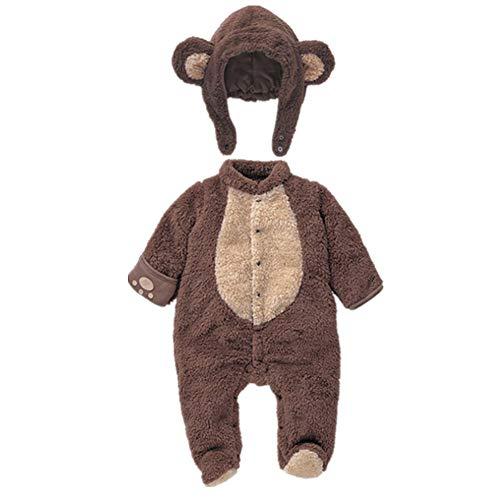 Kigurumi Baby Strampelanzug mit Füssen, Mütze für Jungen und Mädchen, mit Kapuze, für 0-12 Monate, Halloween, Cosplay-Kostüm, braun, 73cm(3-6M)