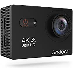 Andoer AN9000R Cámara Deportiva de Acción WIFI 4k 16MP 170 ° HD Gran Angular con Control Remoto Soporte de Carcasa Rígida 4X Zoom Impermeable hasta 40m