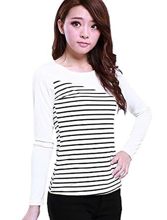 Allegra K Lady Round Neck Long Sleeves Bar Striped Slim T-Shirt XS White