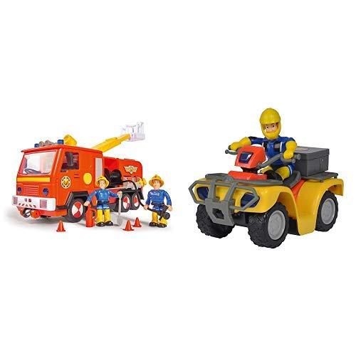 Simba 109251038 - Sam Jupiter Feuerwehrauto 2.0 / Mit Sam und Elvis Figur / mit Licht und Sound / Mit ausfahrbarer Leiter und Suchscheinwerfer / 28cm &  109257657 - Feuerwehrmann Sam Mercury-Quad