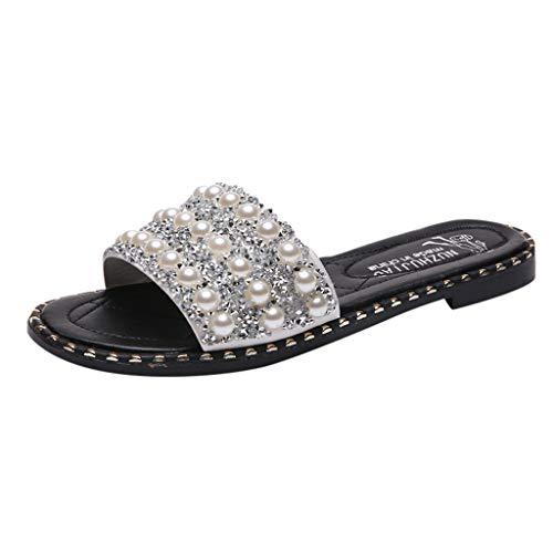 iHAZA Estate Donna Elegante Pearl Paillettes Flats Sandali Antiscivolo Scarpe Da Spiaggia Selvagge