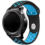 Elespoto 20mm Correa para Motorola Moto 360 2 generación 42 mm Samsung Gear S2 Classic Gear Sport Huawe Watch 2 Sport Withings Steel HR 40mm Reloj Pulsera de Reemplazo Correa (Black Blue 1)