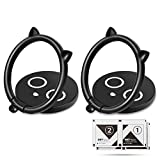 aceyoon Cat Phone Ring Holder 2 Pack Black Finger Grip Cellphone Stand Ultra Thin 3.5mm 360 Rotating Kickstand Phone Attachment Compatible for HTC Google Pixel Samsung Sony Huawei Moto Oneplus