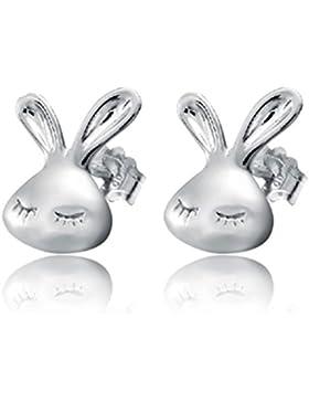Wunhope Ohrringe Damen Mädchen 925er Sterling Silber Einfache Nettes kleines Kaninchen Klein Hypoallergen Stecker