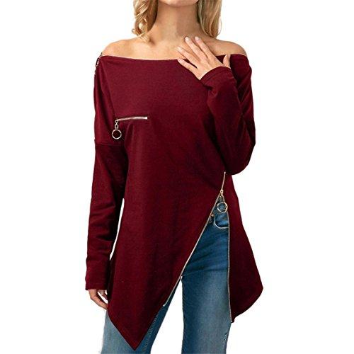 Moonuy Frauen Schulterfrei Langarm Pullover, Lady Slash Neck Asymmetrische T-Shirt mit Reißverschluss Tops Solide Persönlichkeit Zipper dekorative Bluse (Wein, EU 40/Asien XL) (Fisch Shirt Gelber Mit)