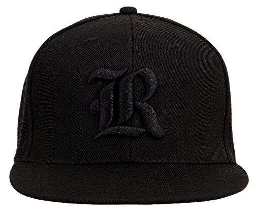 4sold Gorra con Raised 3D Negro Bordado Letra Gorra de béisbol Hip-Hop Gorra Sombrero Gorro de Invierno Negro R Talla única