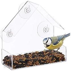 Relaxdays Fenster-Vogelfutterhaus, für Wildvögel, 3 Saugnäpfe, Futterstation mit Dach, HBT: 15 x 15 x 7 cm, transparent, Acrylglas, PVC, Standard