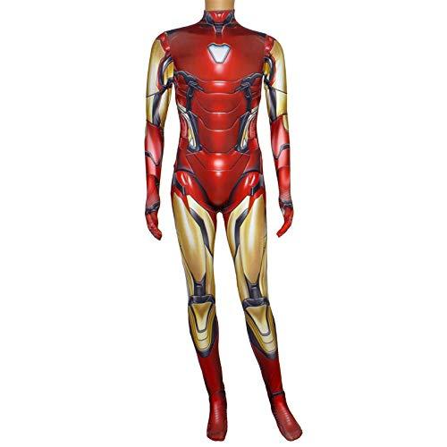 nd Iron Man Cos Kostüm Halloween Weihnachten Cosplay Requisiten Phantasie Overall 3D Prin Lycra Strumpfhosen Party Kleid Körper Strumpfhosen,Adult-170 ()