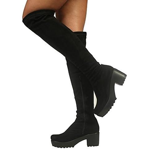 Womens Ladies Zip Blocco Chunky tacco piattaforma sopra il ginocchio