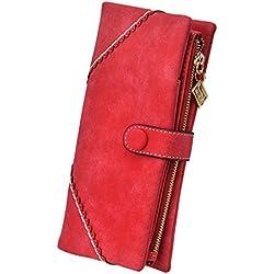 TechSmile Mujer cartera Clásica Estilo Billetera larga de cuero y Gran capacidad para Crédito Tarjetas,Roja