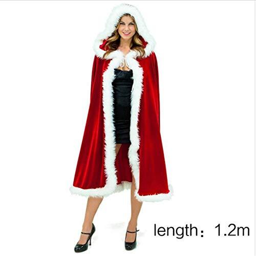 Weihnachts-Kostüm für Erwachsene Frauen Hooded Cloak Frau Santa Claus Velvet Pelz Cloak Capa Red Cloak Cape,1.2meters