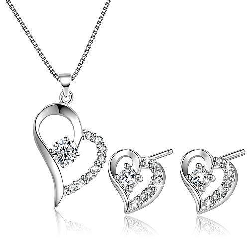 793ca7719114 Publicado el 3 4 2019OneSight - Juego de collar y pendientes con colgante  de corazón para mujer