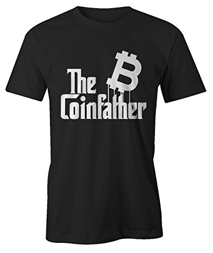 The Coinfather Bitcoin Cryptocurrency BTC LTC Digital Currency T-Shirt Herren Schwarz Large