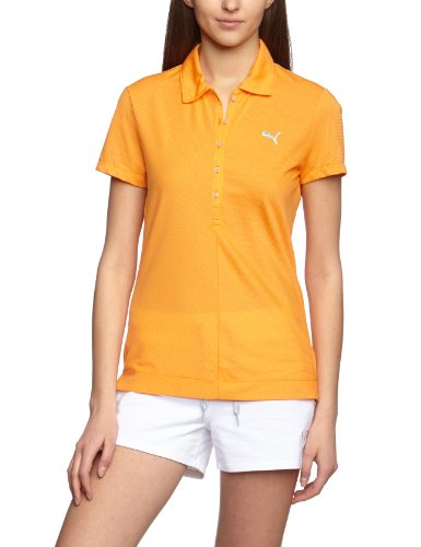 PUMA Damen T-Shirt Golf Short sleeve Yarn Dye Stripe Polo, orange popsicle, M, 562693 -
