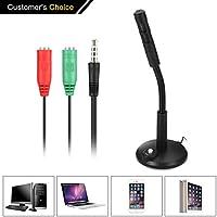 Micrófono para ordenador, NASUM micrófonos USB de escritorio profesionales para PC/Escritorio/iPad, Enchufe y juego de 3.5 mm para grabación, Conferencia, Podcasting, Conversación en línea