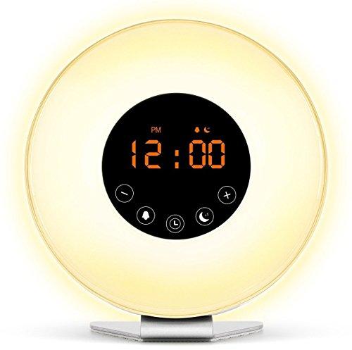 XIDO® Wake Up Licht Lichtwecker Wecker (Neues Modell) Sonnenaufgang Simulation Tagelichtwecker mit Intelligente Schlummerfunktion, FM Radio, Touch Control, 7 Farbige LED und USB Ladegerät