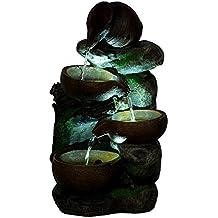 Brunnen Steine, Moos, Krüge, Mit 3 LED Leuchten,G53 17085,