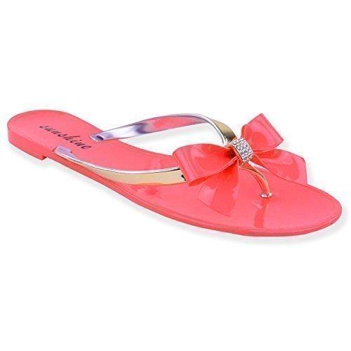 Nouvelles Femmes Sandales De Caoutchouc Pour Les Filles Bas Chaussures D'ete Plage Taille Frillée Coral Rose Jelly