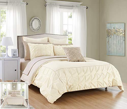 Chic Home 10Stück Assen gerüschte Pinch Falte Grenze mit Paspeln, Wende Moderne bedruckt Muster Bed in a Bag Tröster Set, Mikrofaser, beige, Twin