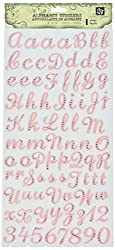 Prima 536497 Flights of Fancy Gem Alphabet Sticker, Light Pink