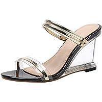 Sandalias de Tacón Alto para Mujer de Verano Zapatillas de Playa Cristal Pescado Boca Bella Durmiente Zapatos de Princesa 9 CM Zapato de Dama de Honor