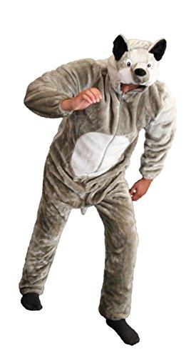 Foxxeo Deluxe Wolfkostüm Kostüm Wolf plüsch Wölfe Plüschkostüm Rotkäppchen Gr. S - XXXL, (Rotkäppchen Deluxe Kostüm)