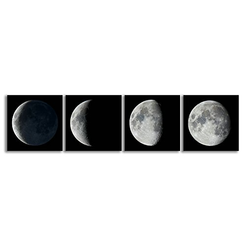 CrmOArt - Giclee moderno impresiones de la lona estirar ilustraciones abstracto Luna llena espacio en blanco y negro fotos a la foto Pinturas en la lona arte de la pared para decoraciones de la oficina en el hogar decoración de la pared 4 piezas