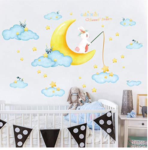 zxwd Moon Bunny Tapete Kinderzimmer Schlafzimmer Pvc Abnehmbare Wanddekoration WandaufkleberFürHauptdekoration