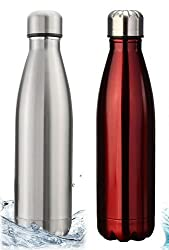 Pexpo Zafos Red & Silver (Set Of 2) 1000Ml Vacuum Hot & Cold Water Bottle