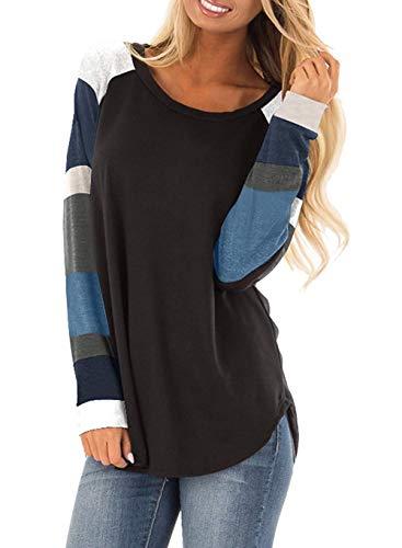 Flying Rabbit Damen Baumwolle Shirt Tops Leicht Rundhals Pullover, Neu-schwarz, XL