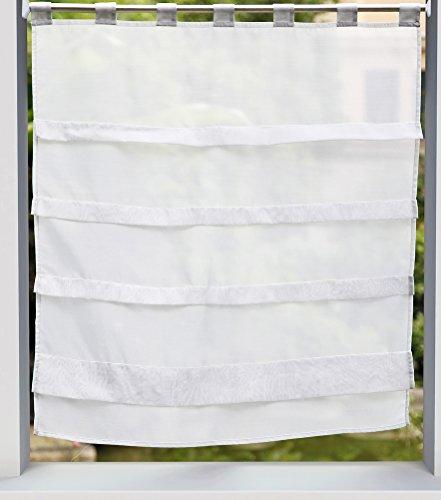 LivebyCare Roman mit Hahn-Balkon-Ballon Vorhang Voile Vorhang Gardinen Volant Panels für Büro zu Hause, Schlafzimmer Room, Polyester, Whitish Grey, W*H 90*110 cm/35*43 inch (Vorhänge Hahn Küche)
