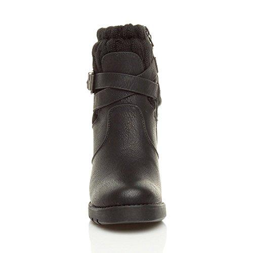 Femmes haute talon carré col tricoté hiver biker militaire bottines pointure Noir
