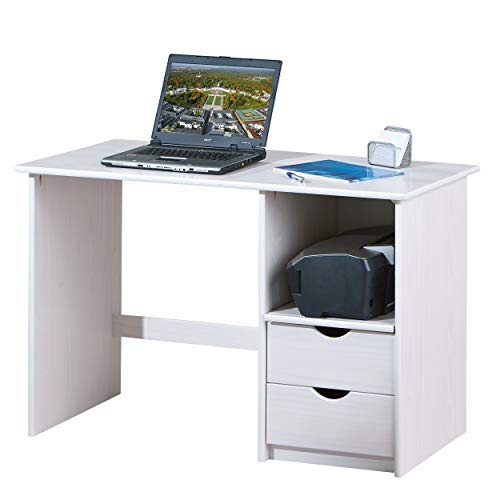 Inter Link Alpine Living Holzschreibtisch Computertisch Büromöbel Arbeitstisch Kiefer massivholz Weiss lackiert