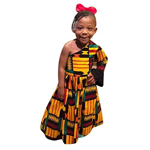 Mädchen Kinder Traditionelle Afrikanische Druck Off Shoulder Vintage Kleid für Baby Mädchen Retro Dashiki Geometrische Print Asymmetrische Ballkleid Urlaub Strand Geburtstag Party Festlich Kleid (Drucken Halloween Bingo)